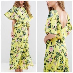 ASOS Yellow Ruffle Berry Print Maxi Dress Maxi
